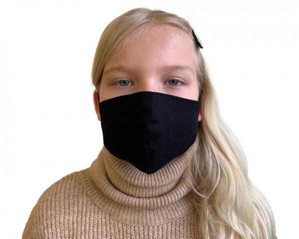 Behelfs- Mundschutz & Nasenmaske für Kinder & Erwachsende Modell Smart in Schwarz aus Baumwolle