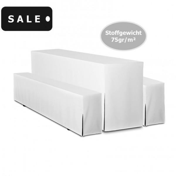 2ER PACK Hussen für Bierzeltgarnituren Set Weiß 70CM Tischbreite 75gr/m² - SALE